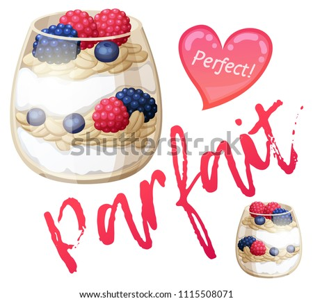 Parfait dessert with berries icon. Cartoon vector illustration isolated on white background. Series of food and drink and ingredients for cooking