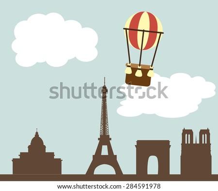 Free Hot Air Balloon In Paris Vector - Download Free Vector Art ...