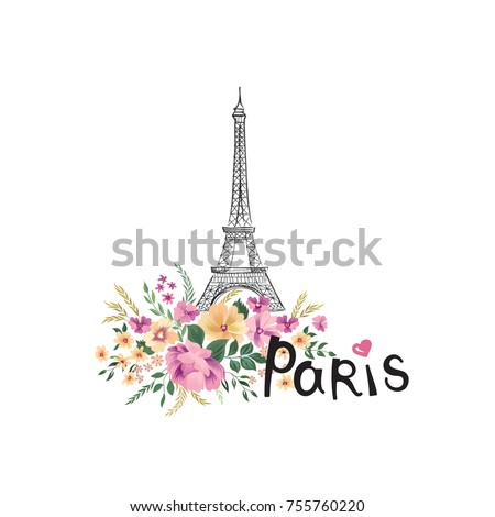 Paris background. Floral Paris sign with flower bouquet and Eiffel tower landmark. Travel France icon
