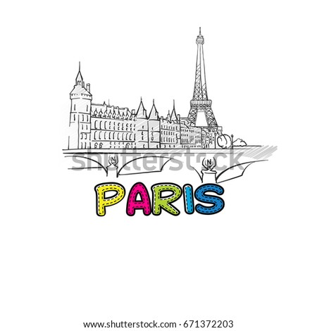 Paris beautiful sketched icon, famous hand-drawn landmark, city name lettering, vector illustration