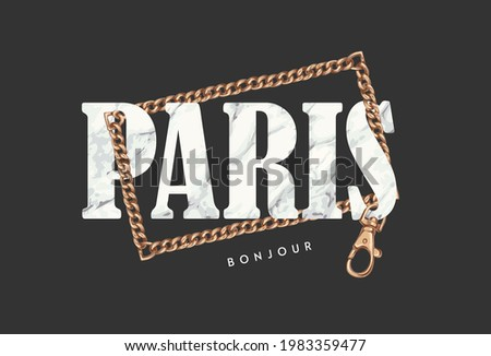 Paris bonjour slogan on marble texture in gold chain frame vector illustration, bonjour is French word means hello Photo stock ©