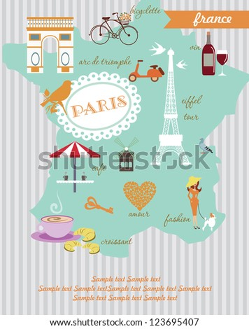 Paris card design vector illustration