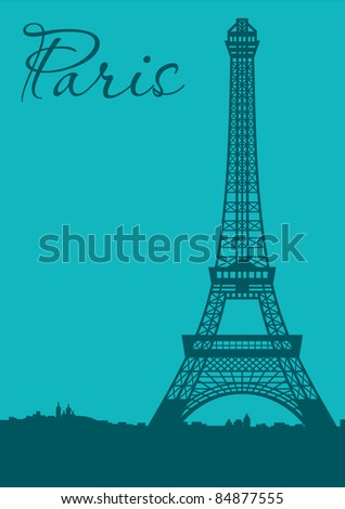 Paris. Card. vector, no gradient - stock vector