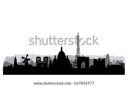 Paris city buildings silhouette. French urban landscape. Paris cityscape with landmarks. Travel France skyline background. Vacation in Europe wallpaper.
