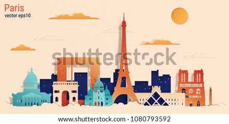 paris city colorful paper cut