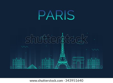 paris city skyline detailed