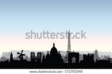 paris city skyline french