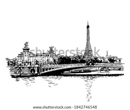 paris cityscape eiffel tower