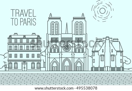 paris cityscape with notre dame