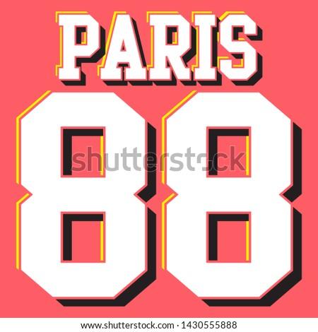 PARIS 88 COLLEGE TYPOGRAPHY SLOGAN PRINT VECTOR
