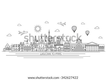 paris detailed skyline travel