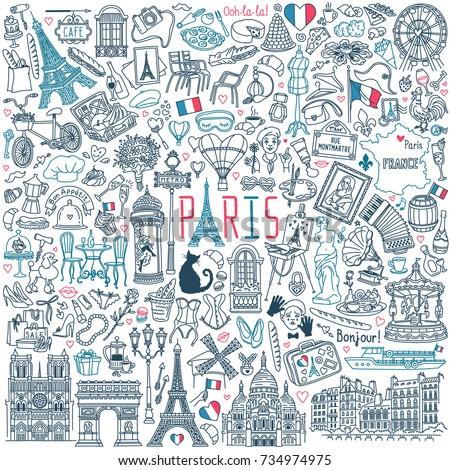 paris doodle set popular