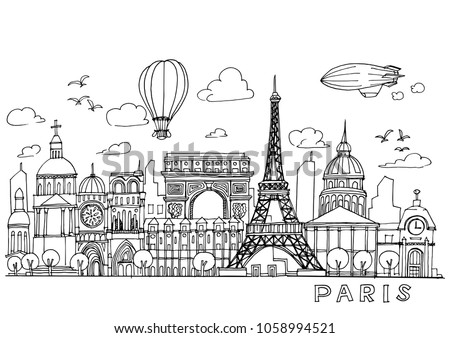 paris  doodles drawing...