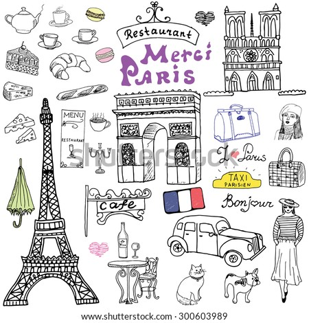 paris doodles elements hand