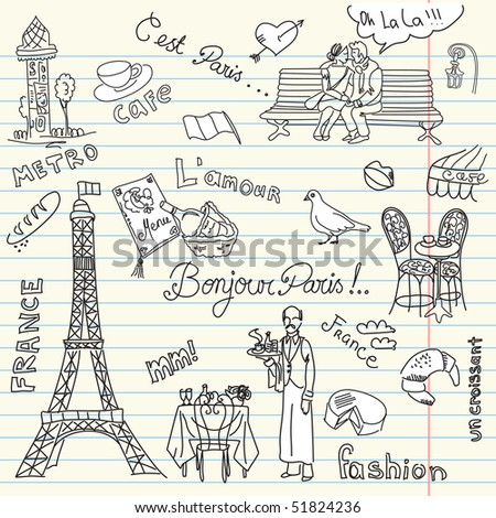 Paris doodles. French cuisine.