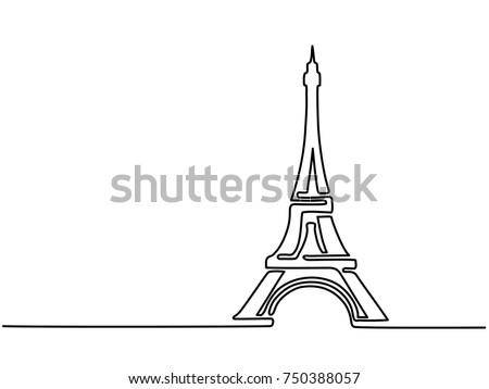 paris eiffel tower icon thin