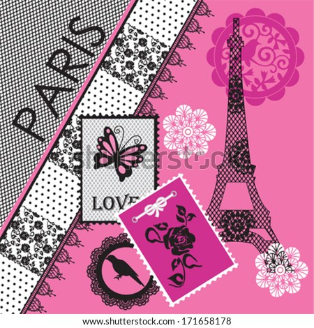 paris eiffel tower invitation