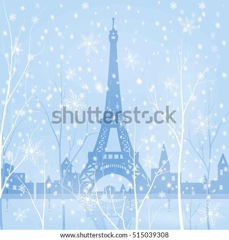paris  eiffel tower  snowy
