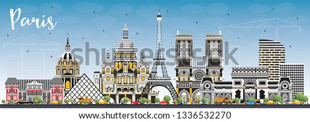Paris France City Skyline with Color Buildings and Blue Sky. Vector Illustration. Business Travel and Concept with Historic Architecture. Paris Cityscape with Landmarks