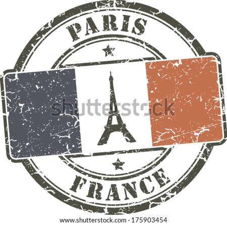 Paris-France grunge stamp eiffel tower