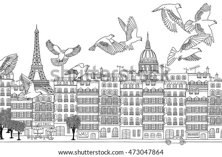 Paris, France - hand drawn black and white cityscape with birds