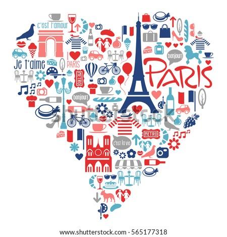 paris france icons  landmarks ...