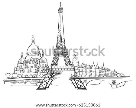 paris france panorama sketch