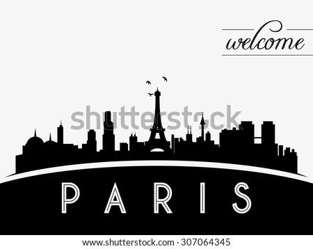 paris france skyline silhouette