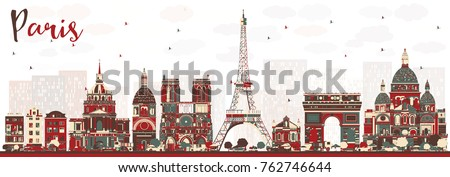 paris france skyline with color