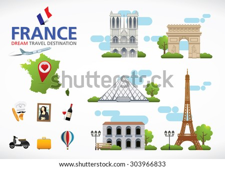 Paris,France Travel destination concept, Travel design templates collection, Info graphic elements for traveling to France.
