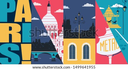 paris  france vector skyline