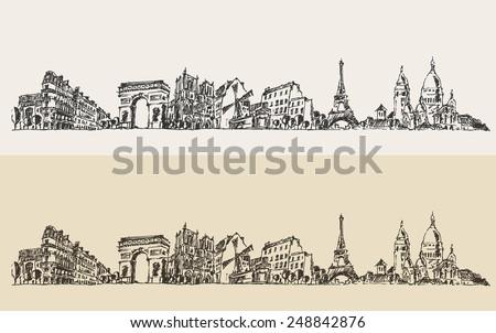 paris  france  vintage engraved