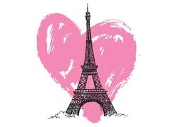 Paris. Hand drawn Eiffel Tower. Heart grunge.