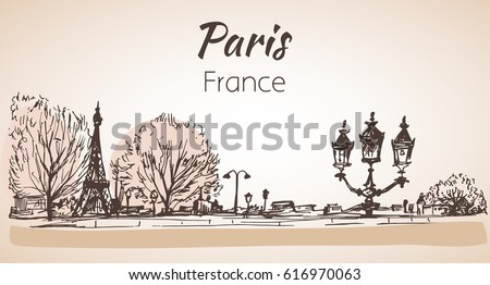 Paris horizontal cityscape. Sketch. Isolated on white background