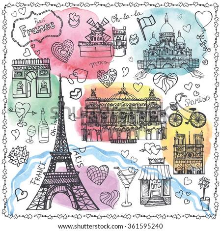 paris landmark love set