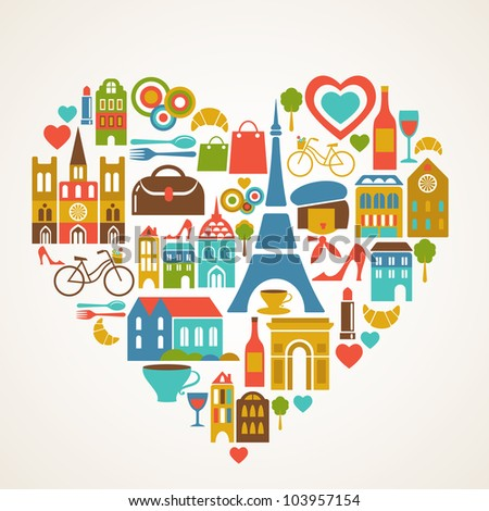 Paris love vector illustration with set of icons