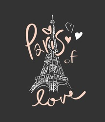 Paris of love slogan  with heart and Eiffel tower hand sketch illustration