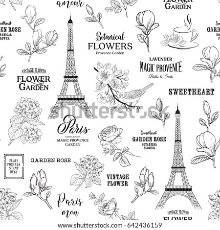 paris romantic seamless pattern