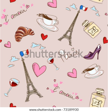 Paris seamless pattern. France. Vector background, easily editable.