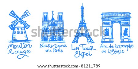 paris sights drawn in free