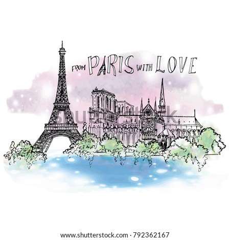 paris sketched illustration