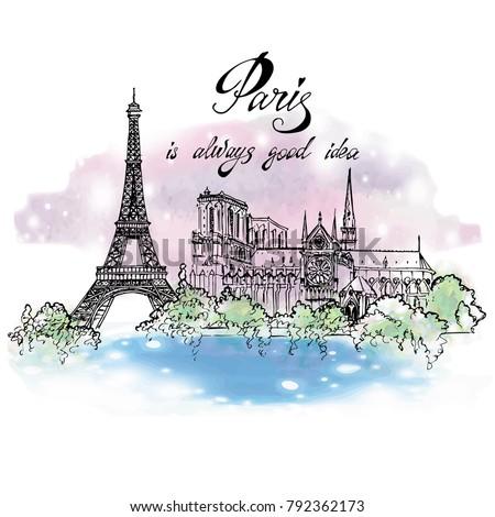paris sketched illustration