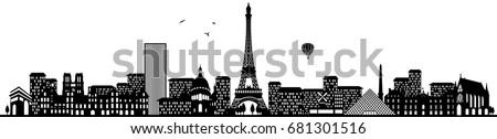paris skyline black