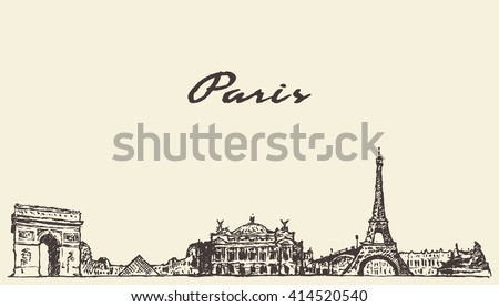 paris skyline  france  vintage...