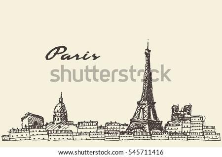 paris skyline  france  vintage