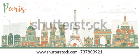 paris skyline with color