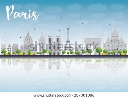 paris skyline with grey