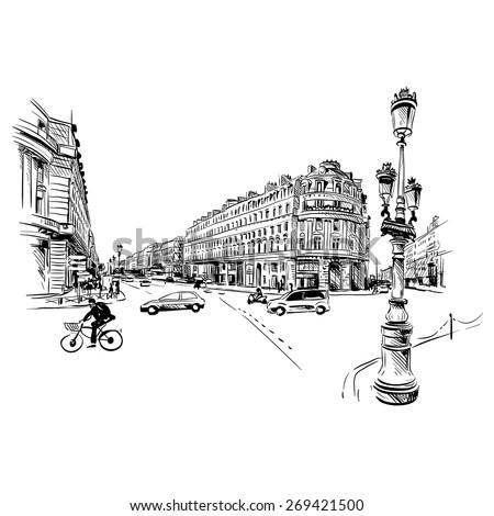 paris street hand drawn  vector