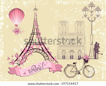 Paris symbols and landmarks Romantic postcard from Paris Vector set