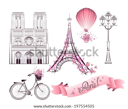 Paris symbols and landmarks Vector set